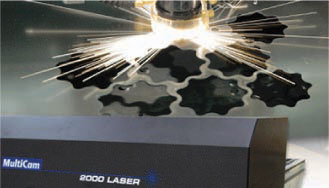 Laser cutting machine creating a star pattern